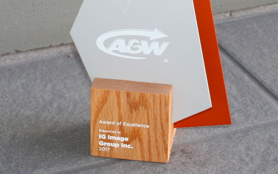 Jenn Forgie and Image Group have been recognized with A&W's Award of Excellence for 2017