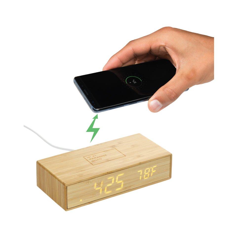 Bamboo Wireless Charging Desk Clock